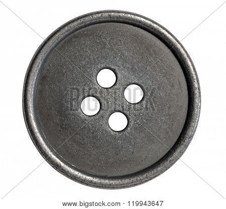 Single metal button isolated with path on white background.