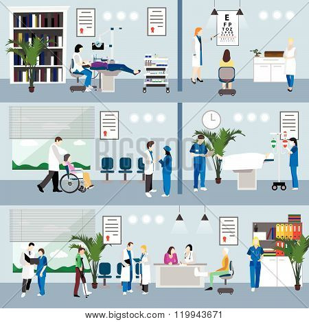 Horizontal vector banners with doctors and hospital interiors. Medicine concept. Patients passing me