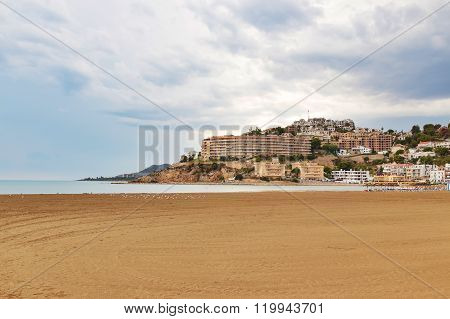 View Over The Beach And Hotels Of Peniscola, Spain