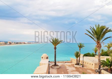 Turquoise Sea And Palm Trees Of Peniscola, Spain