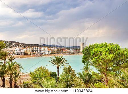 View Over The Coastline Of Peniscola, Spain