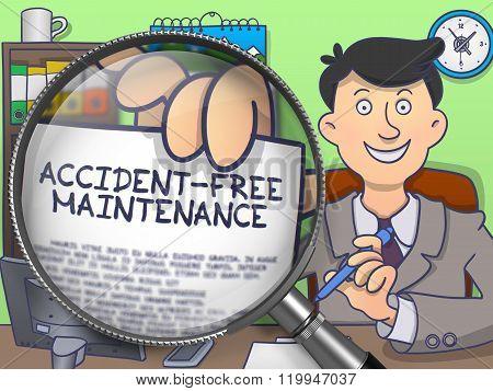 Accident-Free Maintenance through Lens. Doodle Design.