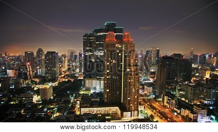 Nigth sky over city