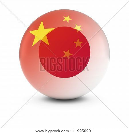 Chinese And Japanese Flag Ball - Fading Flags Of China And Japan