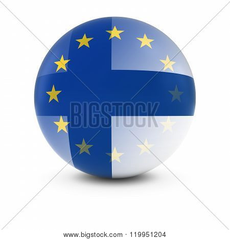 Finnish And European Flag Ball - Fading Flags Of Finland And The Eu