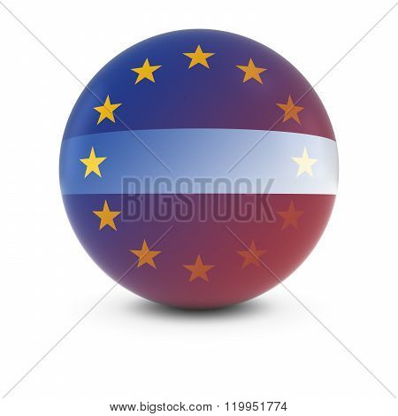 Latvian And European Flag Ball - Fading Flags Of Latvia And The Eu