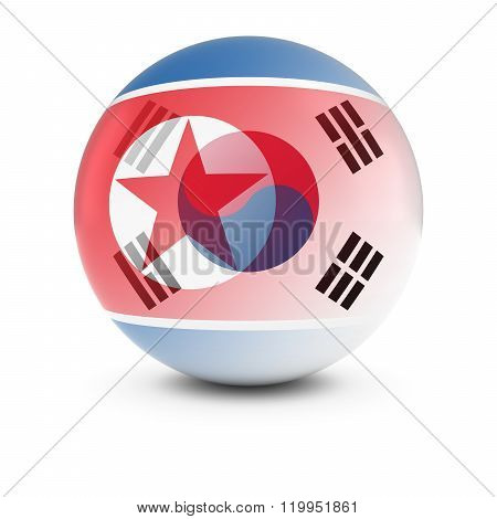 North And South Korean Flag Ball - Fading Flags Of North Korea And South Korea