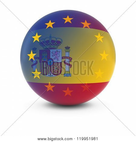 Spanish And European Flag Ball - Fading Flags Of Spain And The Eu