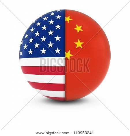 American And Chinese Flag Ball - Split Flags Of The Usa And China