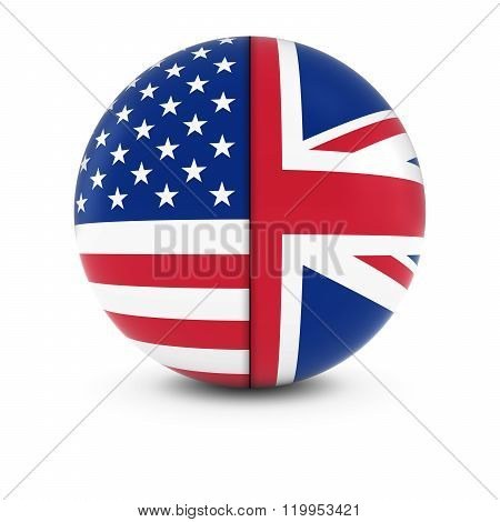 American And British Flag Ball - Split Flags Of The Usa And The Uk