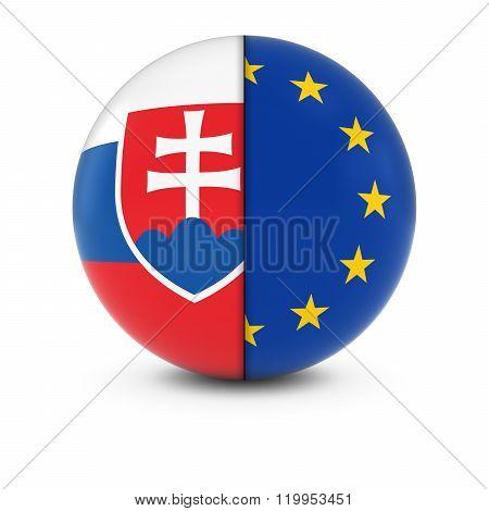 Slovakian And European Flag Ball - Split Flags Of Slovakia And The Eu