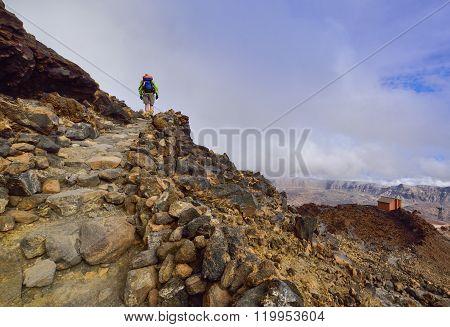 Tourist man walking towards the top of Teide mountain in Spain