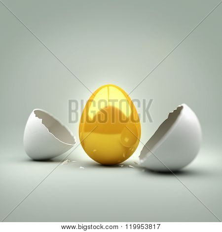 New Golden Egg. A cracked egg revealing a new golden egg. Concept.