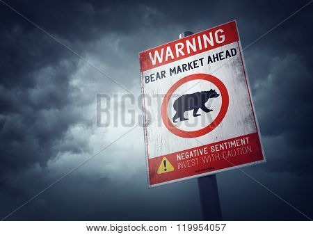 Bear stock market warning sign with growing storm clouds.