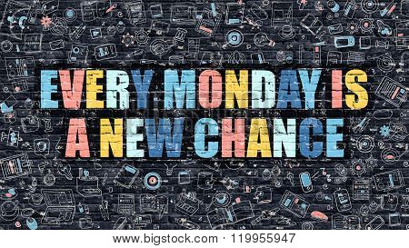 Every Mondayis a New Chance Concept with Doodle Design Icons.