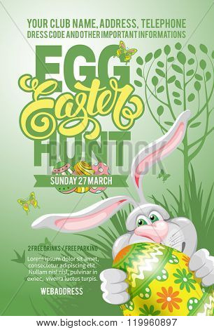 Easter Egg Hunt Invitation Flyer Design with Cheerful Bunny, Painted Egg on Green Background. Calligraphic Lettering Inscription Easter. Vector Illustration.