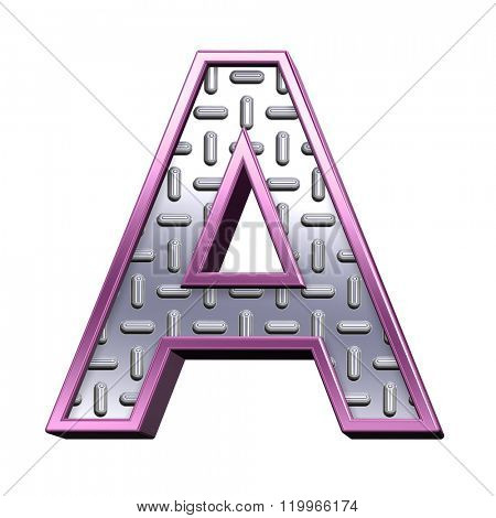 One letter from steel tread plate with purple frame alphabet set, isolated on white. Computer generated 3D photo rendering.