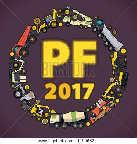 Pour Felicity 2017. Set of ground works machines vehicles. Happy New Year, construction building equ