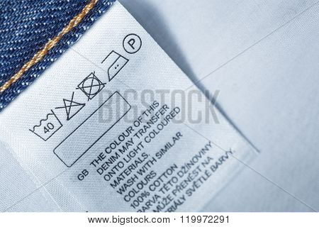 Clothing Label With Laundry Care Instruction, Close Up