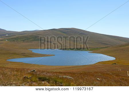 calm lake in the mountains outdoor, steppe, sky, quiet,