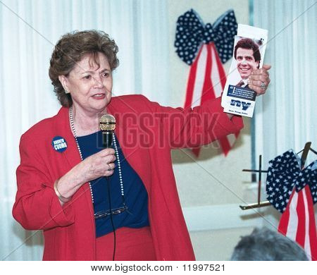 LITTLE NECK, NY - SEPT 3: Matilda Raffa Cuomo, Andrew Cuomo's mother, stumps for her son during his run for New York State Governor on September 3, 2002 in Little Neck, NY. Cuomo lost his bid.