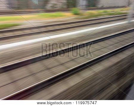 rails of railway. train