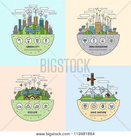 Set of ecology concept illustrations in thin line flat style