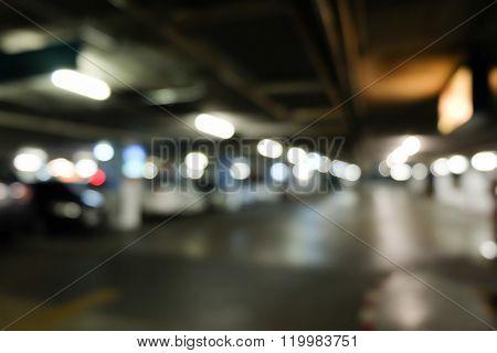 Image Blur Background, Car Parking Lot In Building