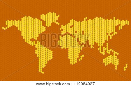 Abstract world map of hexagons