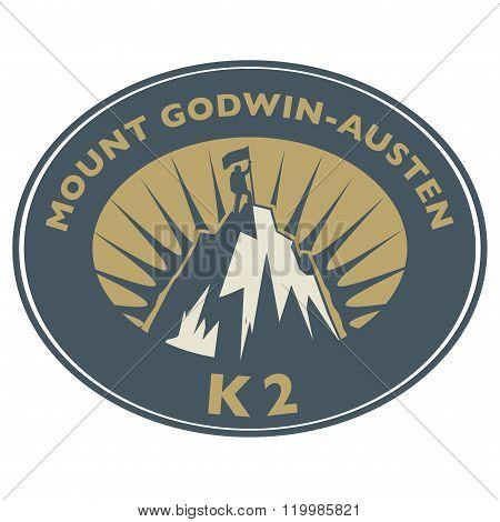 Stamp With Text Mount Godwin-austen, K2