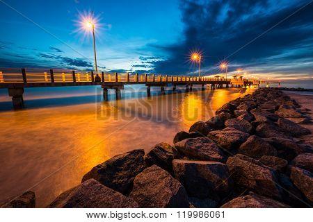 Fort De Soto Gulf Pier After Sunset  Tierra Verde, Florida
