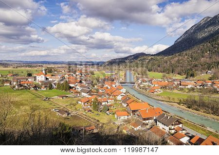 Village Eschenlohe In Bavaria, Germany