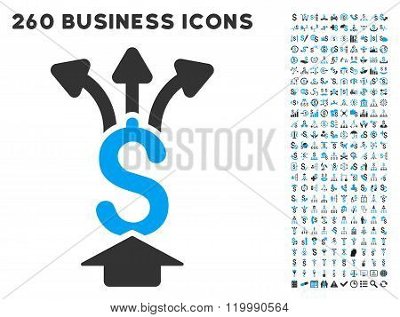 Share Money Icon with Flat Vector Set