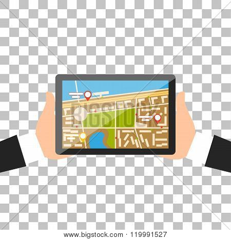 Hand with Tablet Navigation Design