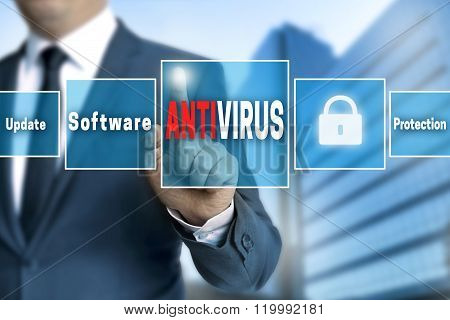 Antivirus Touchscreen Is Operated By Businessman