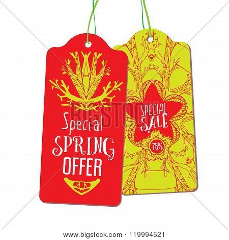 Spring offer and sale labels