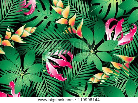 Lush Tropical Flowers And Plants Background