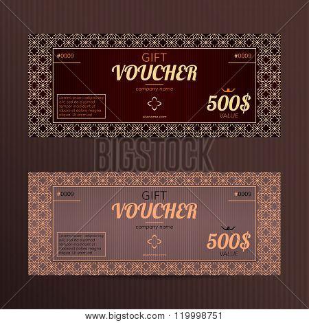 Gift voucher in luxury style.