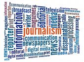 Journalism in word collage poster