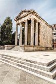 Ancient Temple Of Augustus With Corinthian Columns - Pula Istria Croatia poster