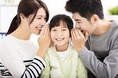 asian family parent and daughter whispering gossip poster