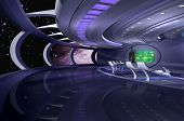 3D rendering of a spaceship poster