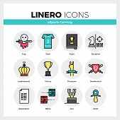 Line icons set of esports gaming online cybersport games. Modern color flat design linear pictogram collection. Outline vector concept of mono stroke symbol pack. Premium quality web graphics material. poster