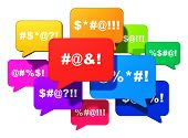 Color speech bubbles or balloons with censored swearing words isolated on white background poster