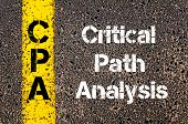 Concept image of Business Acronym CPA Critical Path Analysis written over road marking yellow paint line poster