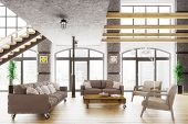 Modern loft apartment interior living room sofa and armchairs 3d render poster