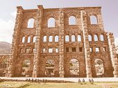 Ruins of the Roman Theatre in Aoste Italy vintage poster