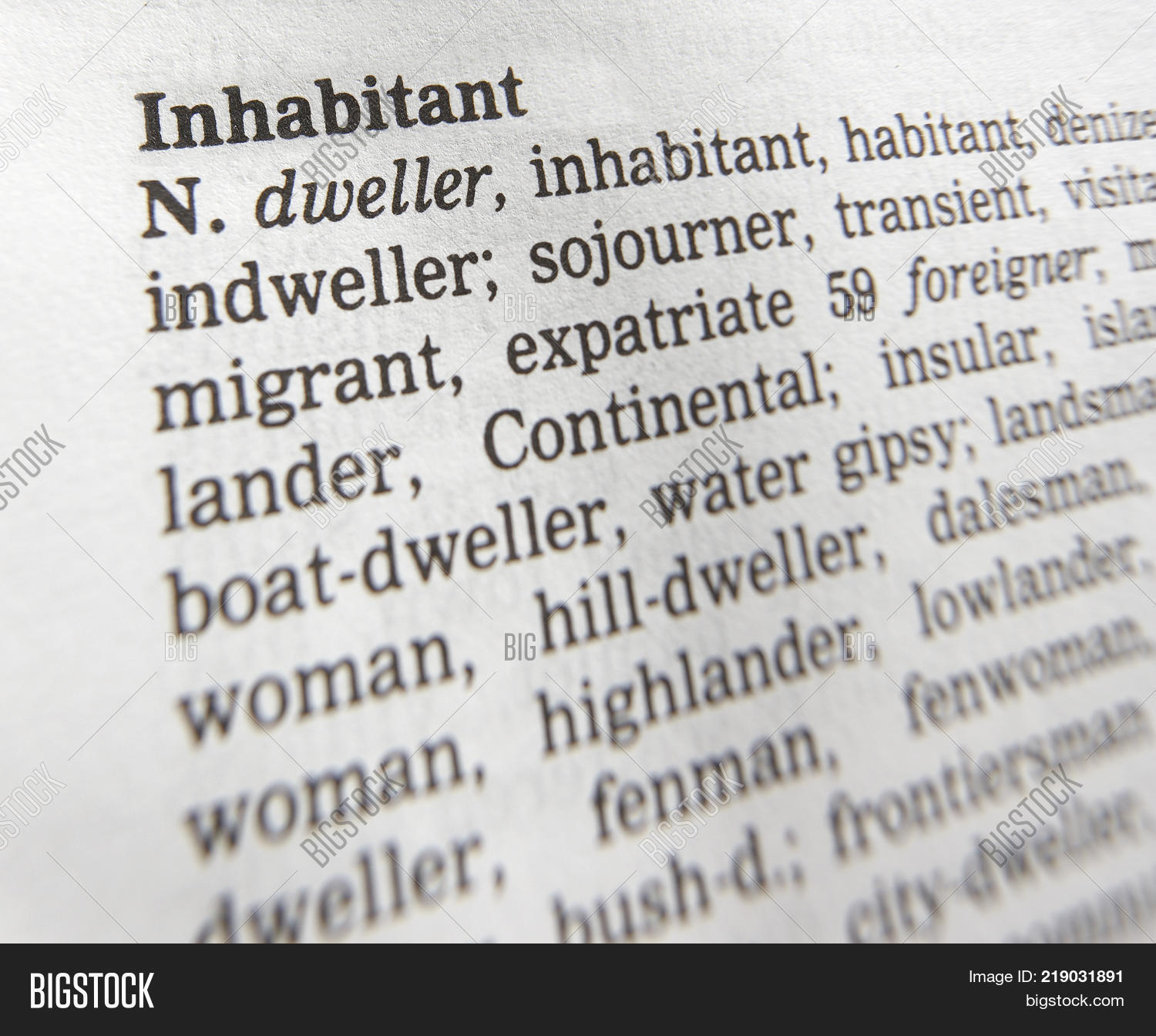 CLECKHEATON, WEST YORKSHIRE, UK: THESAURUS PAGE SHOWING DEFINITION OF WORD  INHABITANT, 30TH