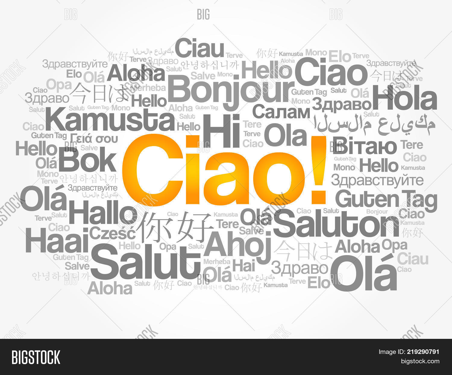 Ciao hello greeting image photo free trial bigstock ciao hello greeting in italian word cloud in different languages of the world background m4hsunfo