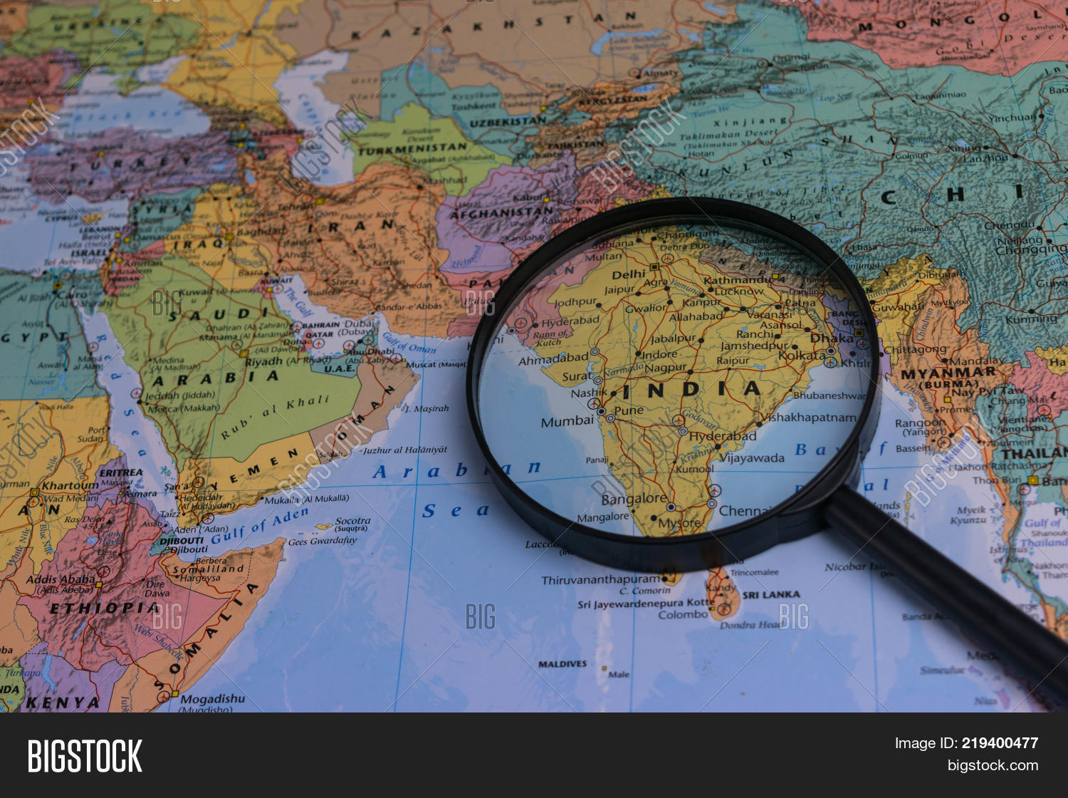 india map through magnifying glass on a